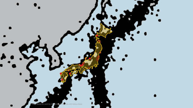 Overlay of earthquake faults and nuclear power plants in Japan.