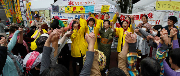 Women from all over Japan demand support of  Fukushima citizen rights and the end of nuclear power.